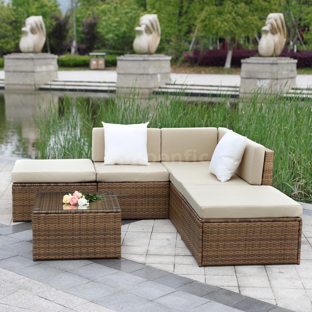 Rattan outdoor garden furniture patio corner sofa set sectional roma wicker x1i6 ebay - Sofa roma ...